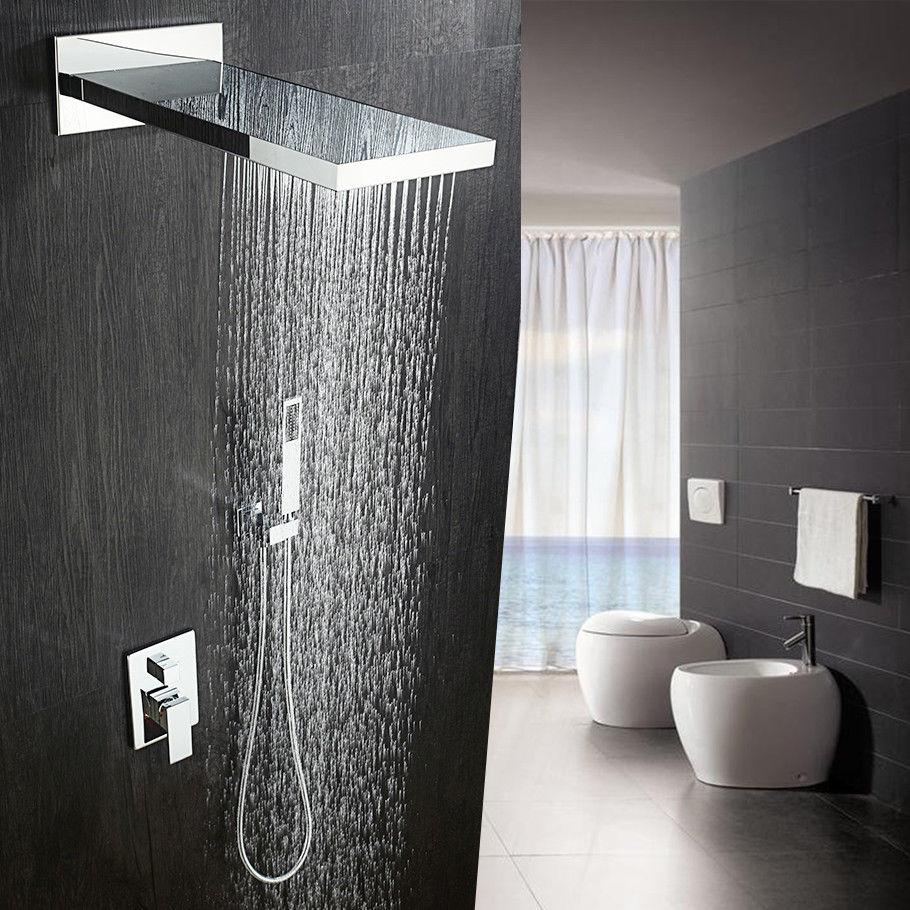 Luxury Waterfall Rainfall Chrome Brass Waterfall Rain Shower Head 3 Ways Valve Mixer Tap Hand Shower Combo