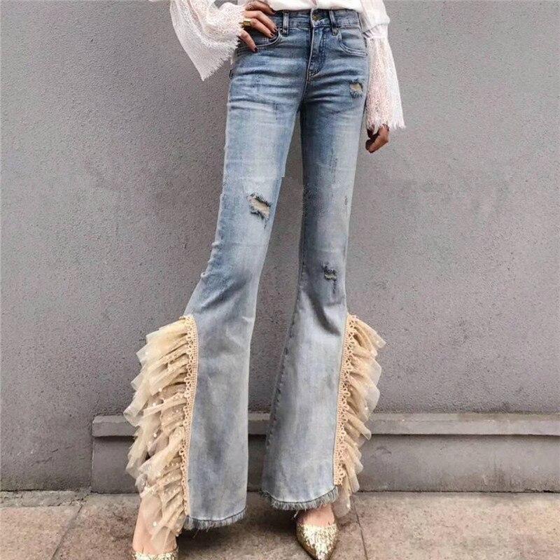 2019 spring autumn fashion flare   jeans   women side split heavy work lace beaded skinny   jeans   plus size