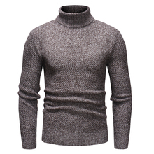 Dropshipping Men Pullover Turtleneck Solid Color Sweater 2018 Winter Warm Long Sleeve Knitwear Casual Slim Knitted