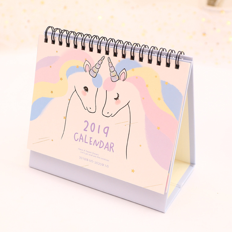 2019 Unicorn Desktop Paper Calendar Daily Scheduler Table Planner Yearly Agenda Organizer cute colorful floral design portable daily 2018 planner lovely doll girl scheduler 256p 11 8 15 4 2 3cm agenda gift