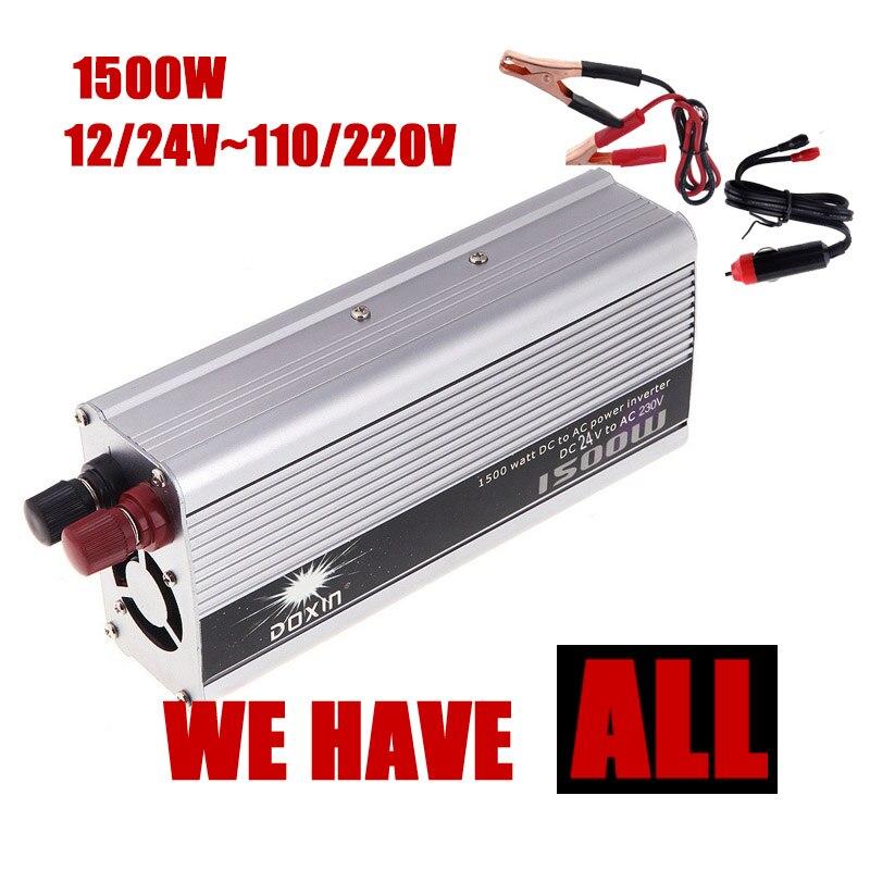 Универсальный 1500 Вт автомобильный инвертор постоянного тока 12 24 В к AC 110 220 В портативный Преобразователь напряжения питания зарядное устройство для трансформатора для телефона