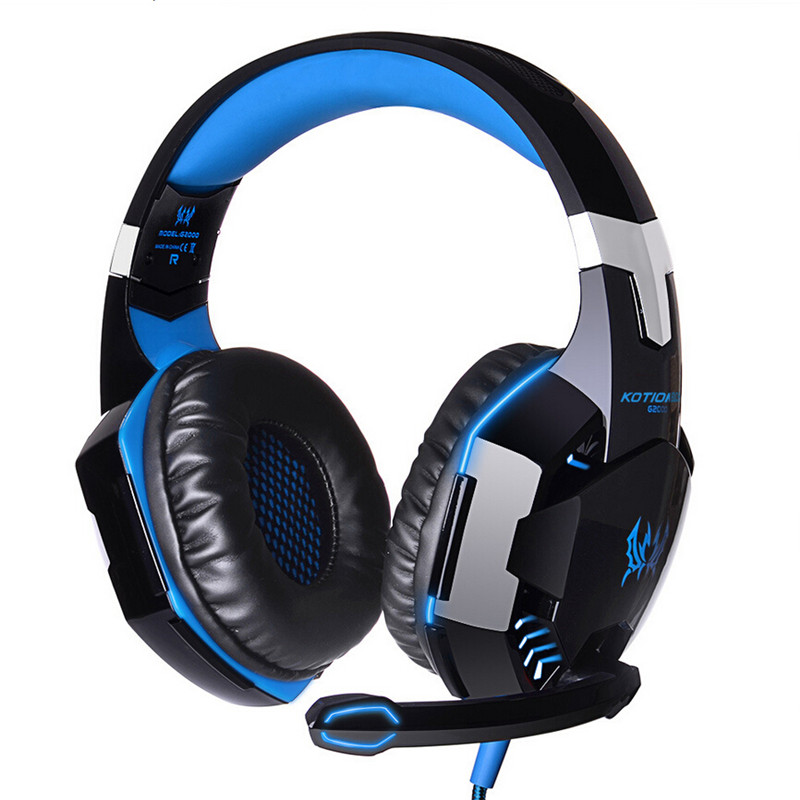 KOTION EACH USB Gaming Headphone Wired Studio Headband Headset Earphone 2M with Mic Stereo LED Light for Computer Gamer