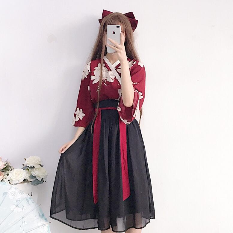 e50b76aba Verano estilo chino dulce lolita conjuntos retro impresión lolita top +  lolita falda kawaii chica ...