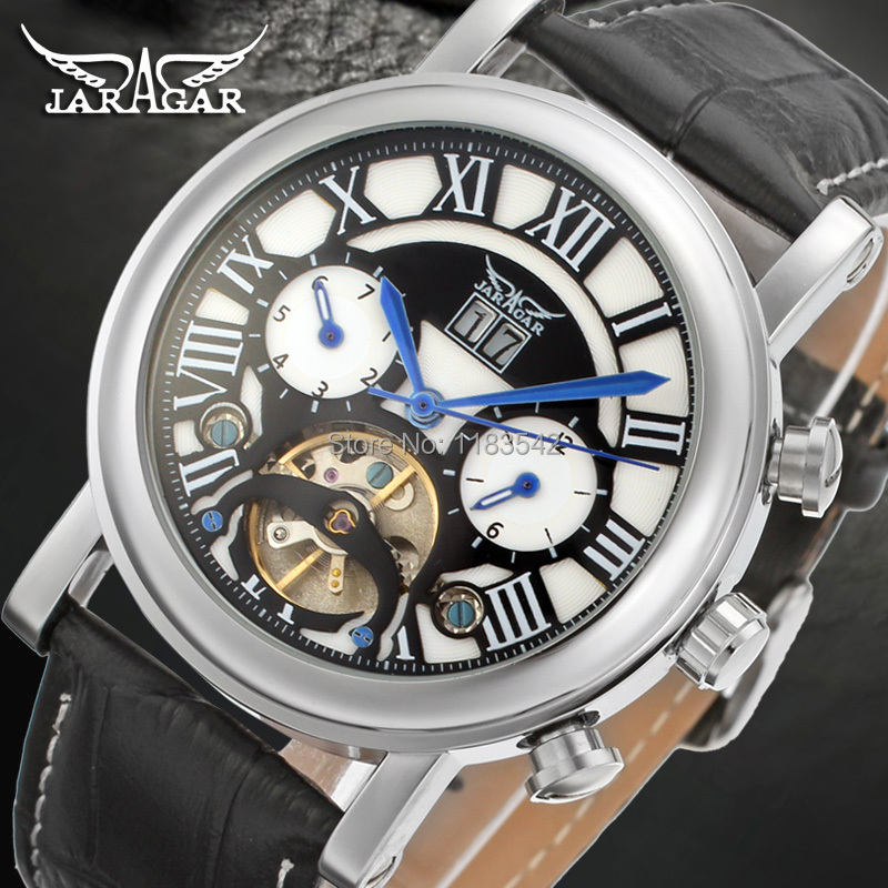 Jargar Automatic silver color men wristwatch tourbillon black leather strap hot selling shipping free JAG9402M3S2 все цены