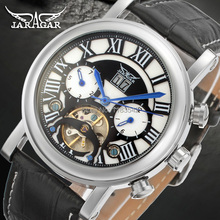 Jargar  Automatic silver color men wristwatch tourbillon black leather strap hot selling shipping free JAG9402M3S2