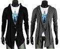 Los Hombres calientes de la ropa de la rebeca de la moda Asimétrica personalidad capucha medio-largo suéter masculino un botón Tops Negro, Oscuro gris