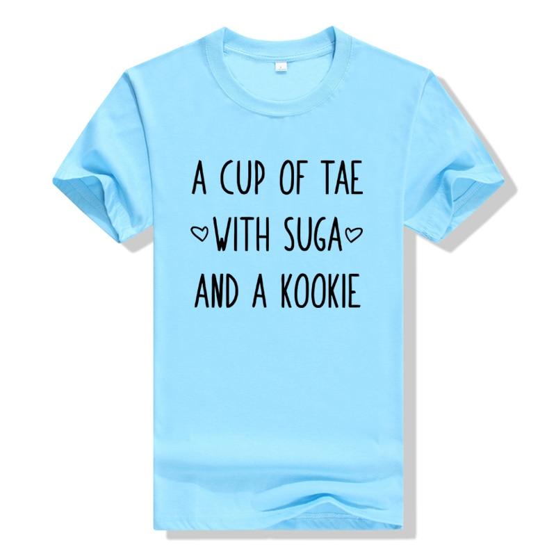 Tae Suga Kookie T-Shirt KPOP Agust D T Shirt Women Casual A Cup Of Tea Min Yoongi Kpop Cotton T Shirt Plus Size Graphic Top