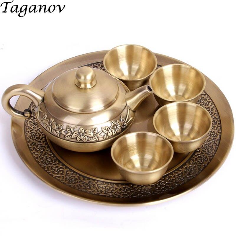 Set de thé en cuivre puer tea Six pièces ensemble 4 Teabowls théière plaque métal fête thé ware famille ami cadeau chinois voyage thé ensemble