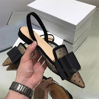 Ballet Woman Shoes Low Heels Slingback Sandals 2019 Dot Mesh Women Shoes Big Bow Pointy Toe Summer Chaussures Femme
