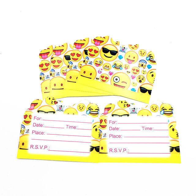 Online Shop 10pcslot Emoji Invitations Kids Birthday Party Favors