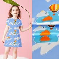 114CM Wide 16MM Cartoon Cloud Print Blue Silk Crepe Plain Fabric for Summer Spring Dress Shirt JH157
