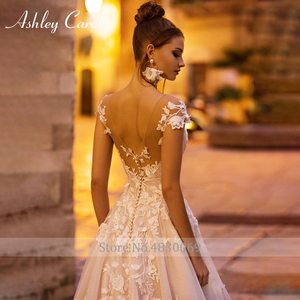 Image 2 - Ashley Carol A Line Wedding Dress 2020 Backless Off the Shoulder Beaded Lace Appliques Princess Bride Dresses Beach Bridal Gown