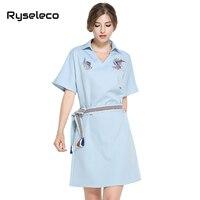 Ryseleco Europe High Fashion Summer Women S Sexy Elegant Midi Casual Dress Femme Brief Clothing OL