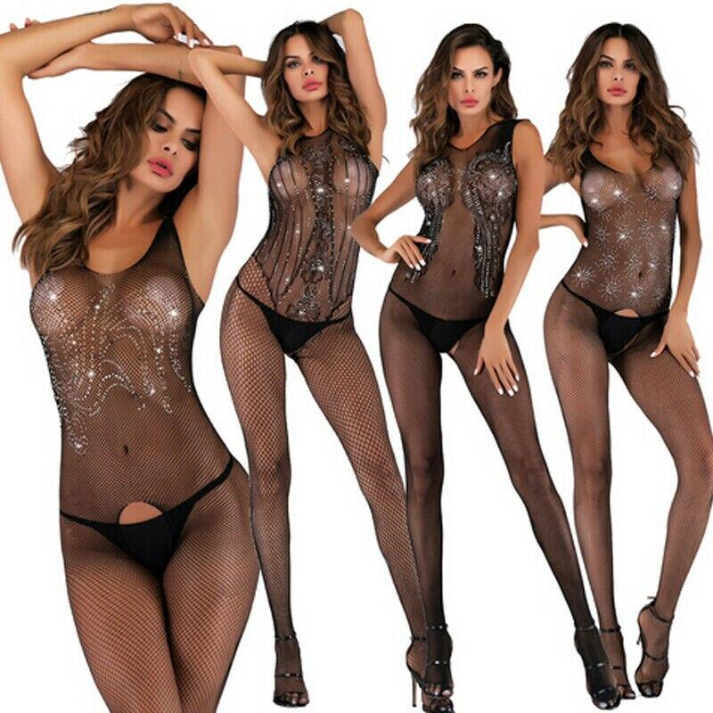 Сексуальное женское белье, ночная рубашка, женские сетчатые боди с чулками, черное сексуальное боди без трусиков