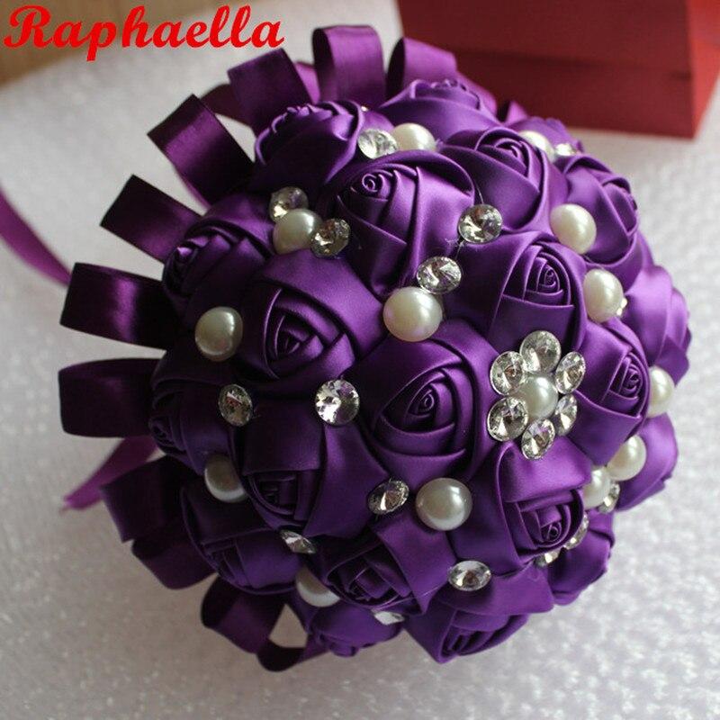 New Dark Purple Wedding Bouquet Bridal Silk Holder Flower Pearls