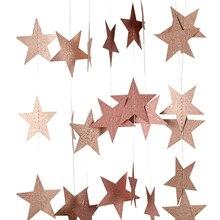 4M 7 ซม.กระดาษGarland Star Shape Stringแบนเนอร์Baby Shower BuntingแขวนกระดาษวันเกิดHappy Birthday PARTY Homeตกแต่ง