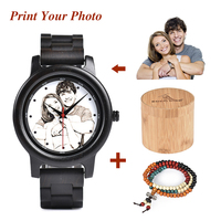 BOBO BIRD Creative Design Printing Photo Logo As Family Gift Wood Quartz Watch Timepiece Engrave Logo