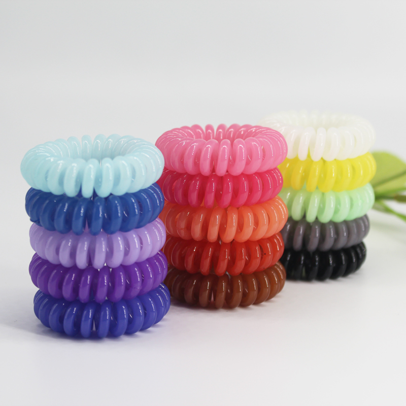 (12pcs) Hot Sale Solid candy color hair scrunchies rope for girls elastic telephone wire hairband headwear in small size