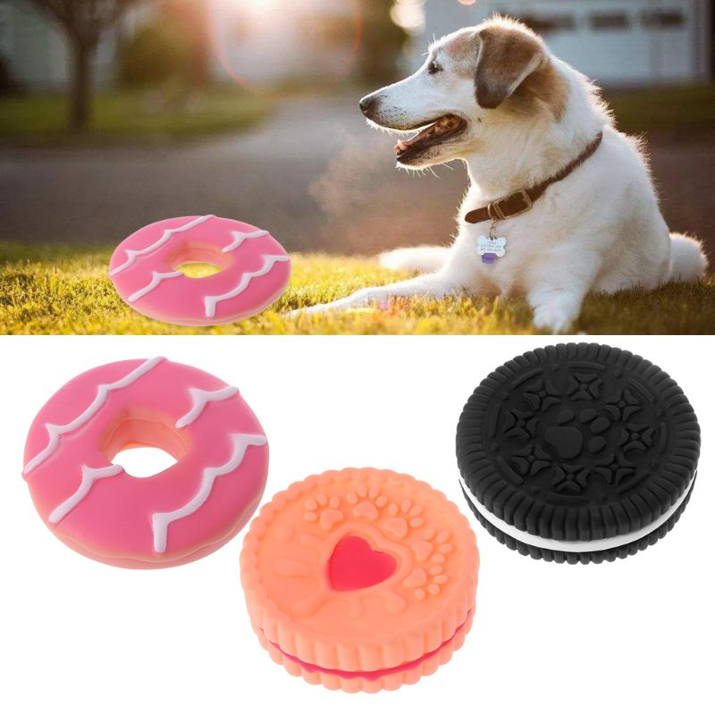 Cookie Shape Pet Dog Toy Puppy Rubber Sound Interactive Chew Toys Cleaning Tooth bite chew resistance