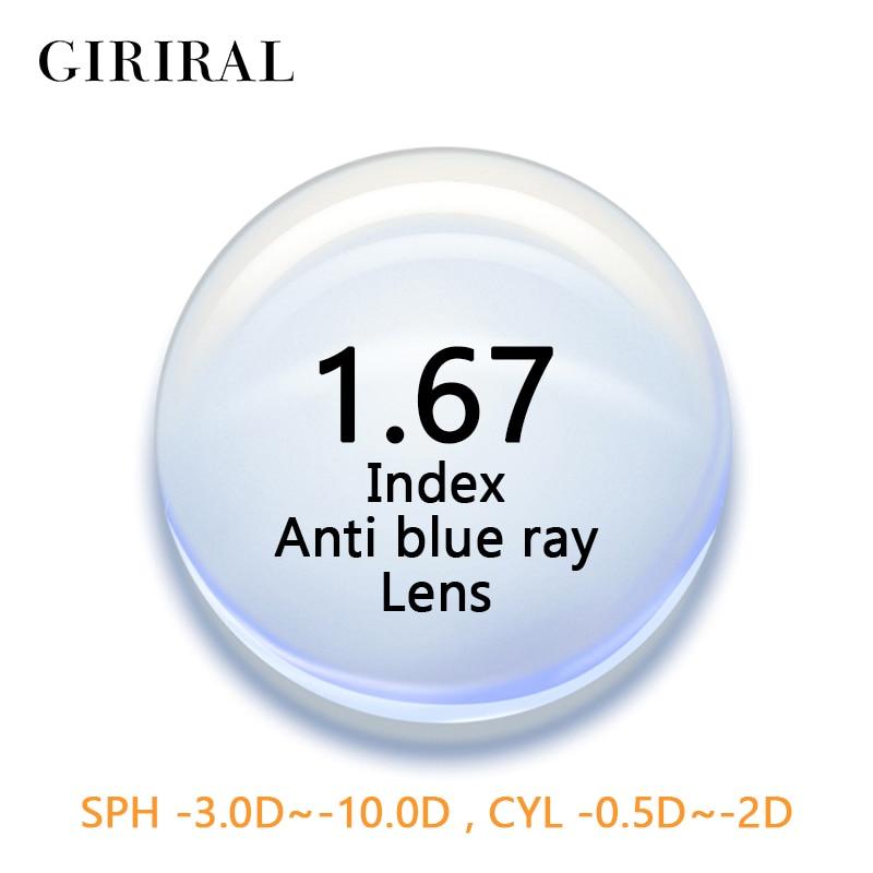 1.67 Lenti Indice Cr-anti Blu Ray Del Computer Occhio Miopia Prescrizione Di Occhiali Da Lettura Ottica Chiaro Occhiali Lenti # 1.67flg Qualità E Quantità Assicurate