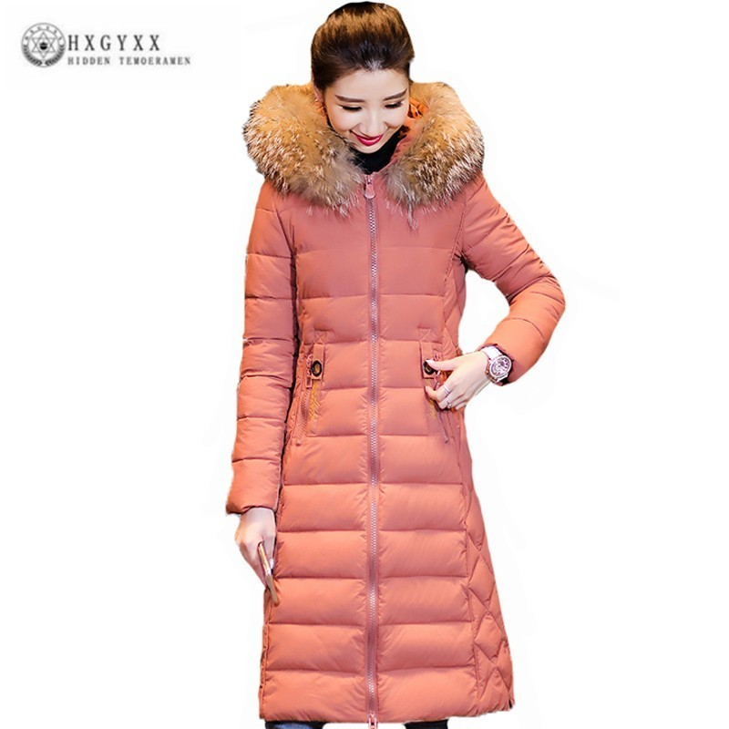 Winter Jacket Women Embroidery Casual Long Coat Female Big Hair Collar Plus Size   Parka   2019 Ukraine Cotton Padded Clothes J117
