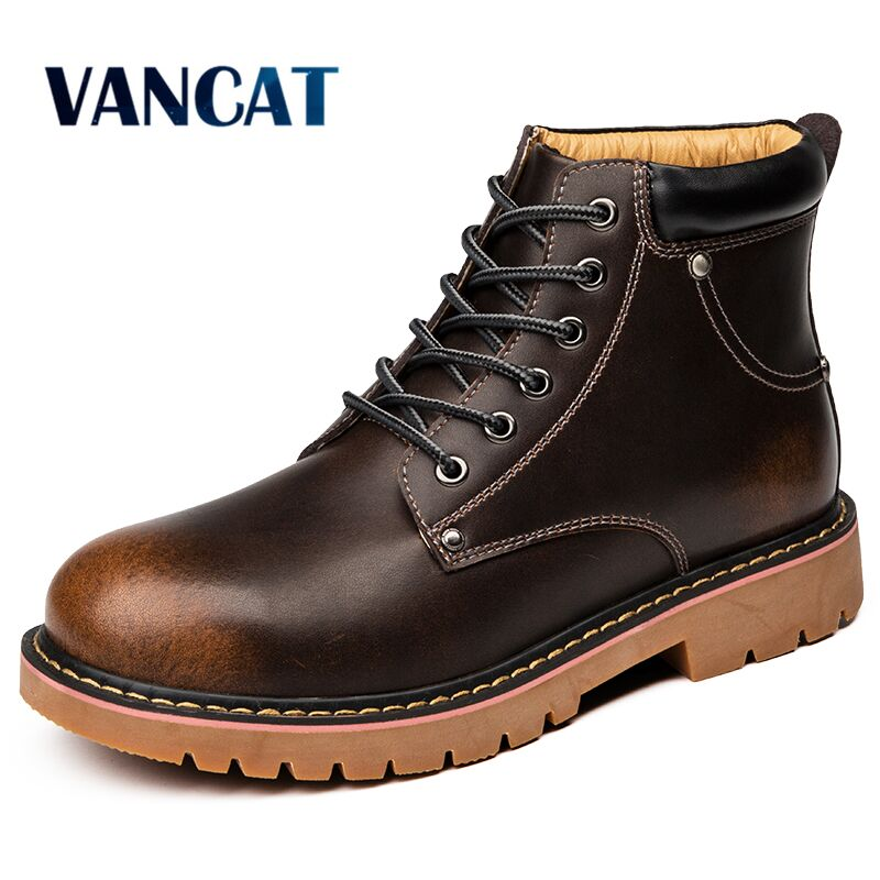 New Men Ankle Boots Quality Genuine Leather Men's Shoes Snow Boots Winter Shoes Warm Fur Men's Boots Waterproof Motorcycle Boots
