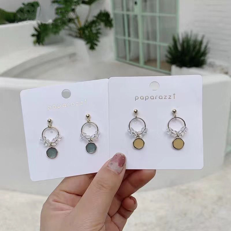 MENGJIQIAO New Clearly Shiny Crystal Circle Drop Earrings For Women Girls Elegant Cute Oil Drip Round Pendientes  Jewelry Gifts