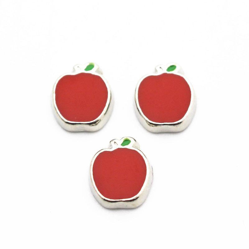 Hot Sale 10pcs/lot Metal Enamel Apple Floating Charms For Living Glass Memory Floating Lockets Pendant Necklace DIY Jewelry