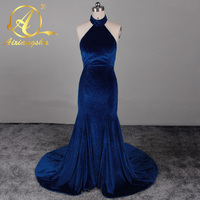 Velvet Evening Prom Dresses 2017 Halter Keyhole Front Sexy Royal Blue Mermaid Prom Formal Long Party