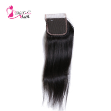 Ms Cat Hair Products Brazilian Lace Closure Hair Straight 100% Human Hair Closure Bleached Knots Remy Hair Shipping Free