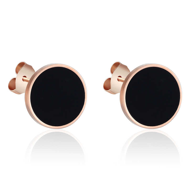 New Arrival Enamel And Shells Rose Gold Stud Earrings For Women And Men Girls Titanium Steel Earrings Wholesale Piercing Jewelry