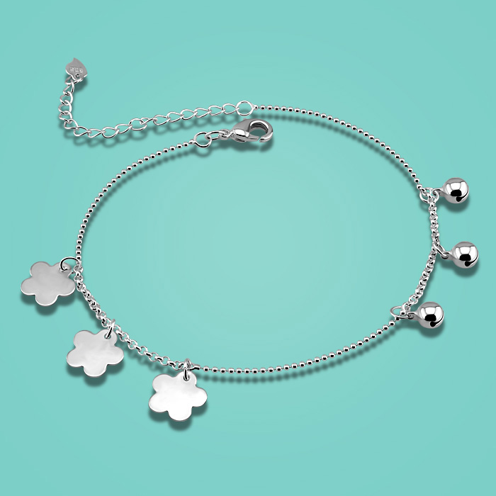 Fashion 925 sterling silver anklets for woman cute flower pendant lady charm anklets Solid silver foot