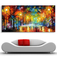 Hand Painted Abstract Modern Painting Large Pictures Night Trees Road Palette Knife Oil Paintings On Canvas Wall Art Home Decor