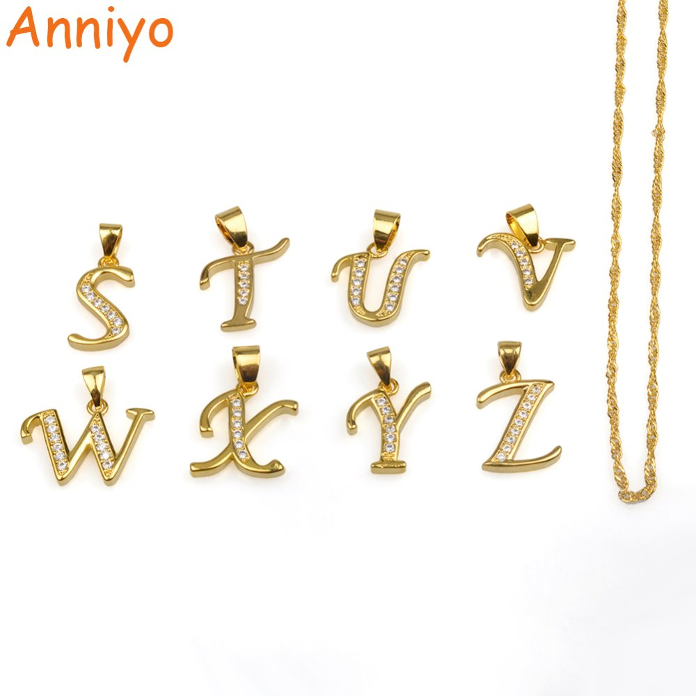 Anniyo (One Piece) Small Letters S-Z Pendant Chain Gold Color Women/Girls,Cubic Zirconia English Letter Initial Jewelry #040602B ...