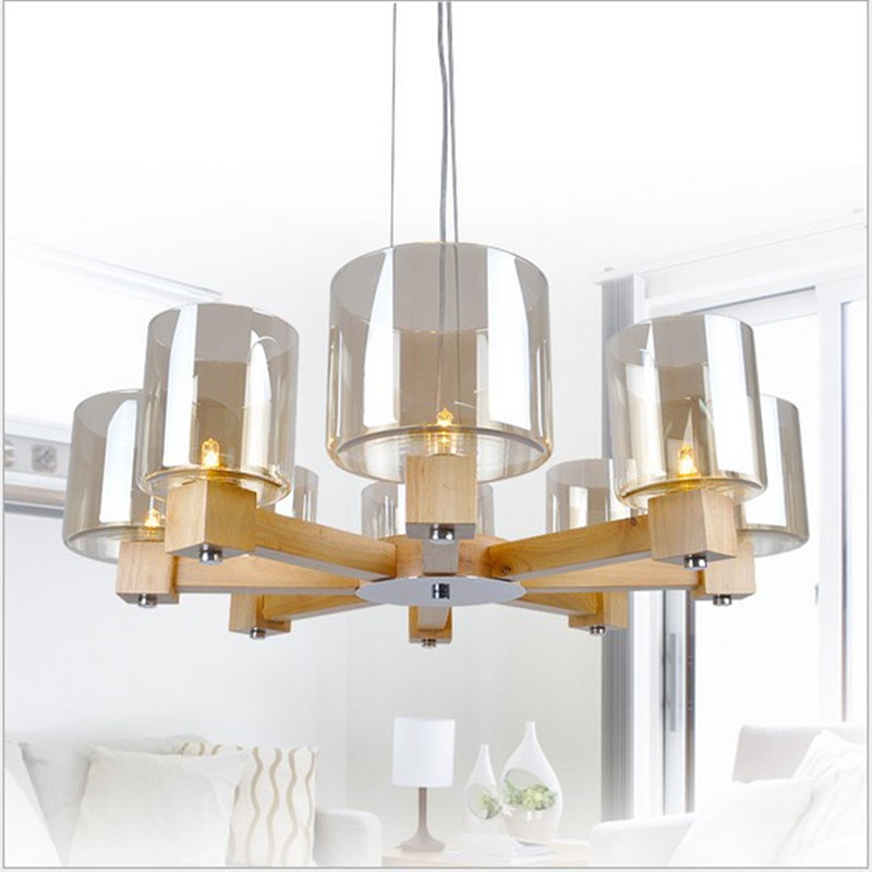 Nordic Contracted Style Wood Dining Room Pendant Light Grass Shade Log Restaurant Parlor Bar Light Free Shipping 3 6 head modern contracted janpen style wood pendant light metal cover dining room light study light ac90 265v free shipping