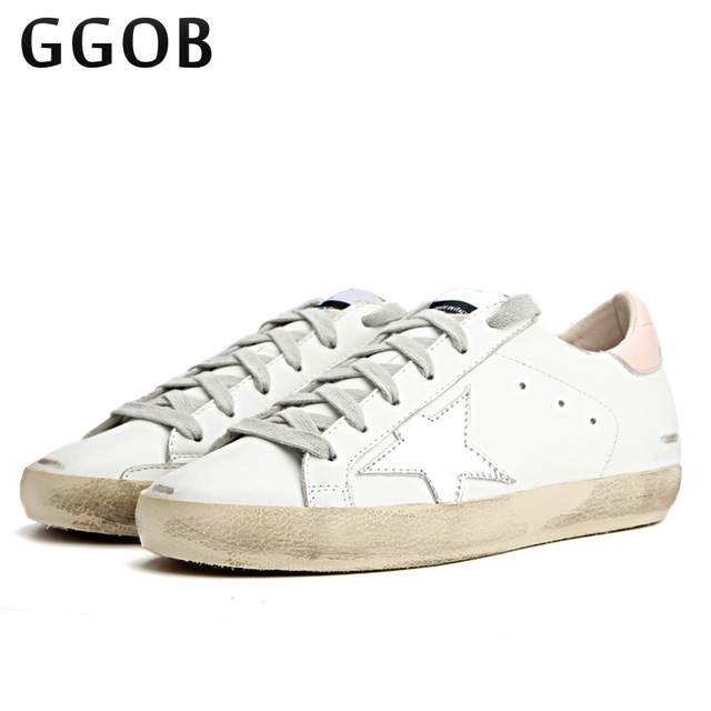 GGOB Handmade Genuine Cowhid 2018 Women Casual Shoes Leather Do Old Dirty Shoes  ladies shoe Silver Star trainers leather Shoes 00b17dee5