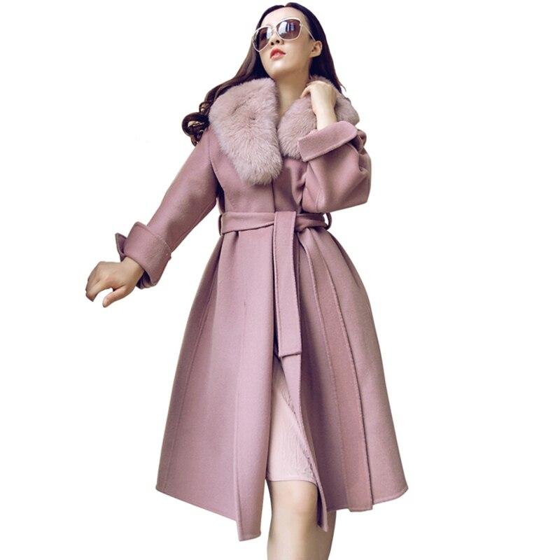 2018 новый роскошный роскошные женские кашемировые пальто тонкий ремень с натуральной меховой воротник лиса весна-осень женские модная верх...