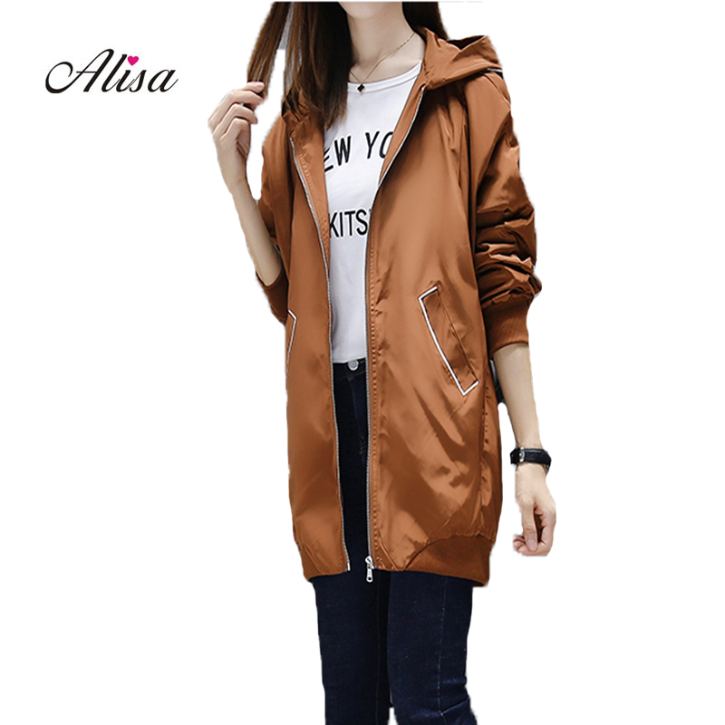Harajuku Windbreaker 2018 New Women Hoodies Loose Coat Solid Loose Casual Zipper Trench Coat Autumn Long Sleeve Female Overcoat