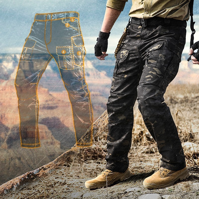 Multi-bag Stretch Camouflage Tactical Pants Men Plaid Waterproof Wear Resisting Breathable Cargo Trousers Outdoor Military Pant