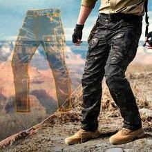 Multi saco estiramento camuflagem tático calças dos homens xadrez à prova dwaterproof água desgastar oposição respirável carga calças ao ar livre militar pant