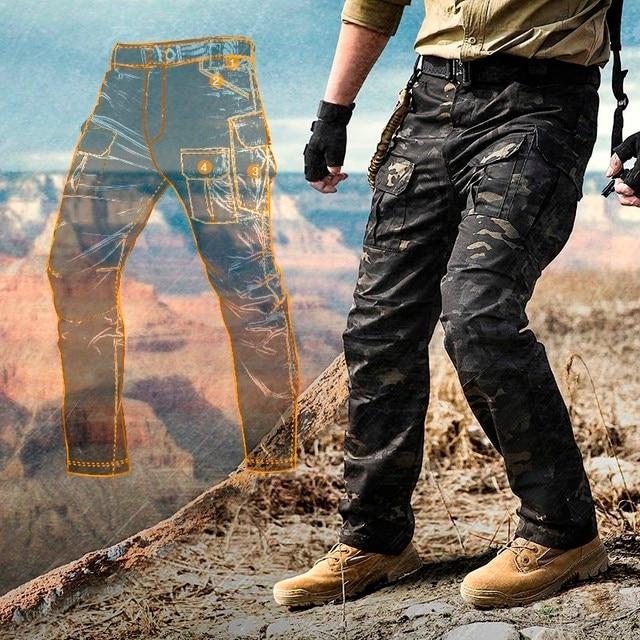 Pantalones tácticos elásticos de camuflaje para hombre, pantalones a cuadros impermeables, resistentes al desgaste, transpirables, pantalón militar para exteriores