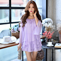 Dabuwawa light purple two pieces chiffon playsuits