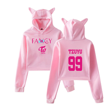 Twice Fancy Hoodies Kpop Fashion Printing Crop Top Korean Style Women