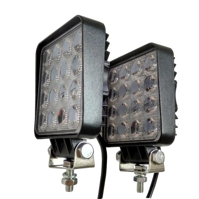 2pcs 48W 4.2 inch LED Work Light Flood Driving Lamp for Car Truck Trailer SUV Off Road Boat 12V 24V 4WD