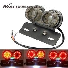 MALUOKASA мотоцикл задний фонарь поворотники индикаторы на заказ мотоцикл задний стоп-сигнал Кафе Racer мигающая лампа