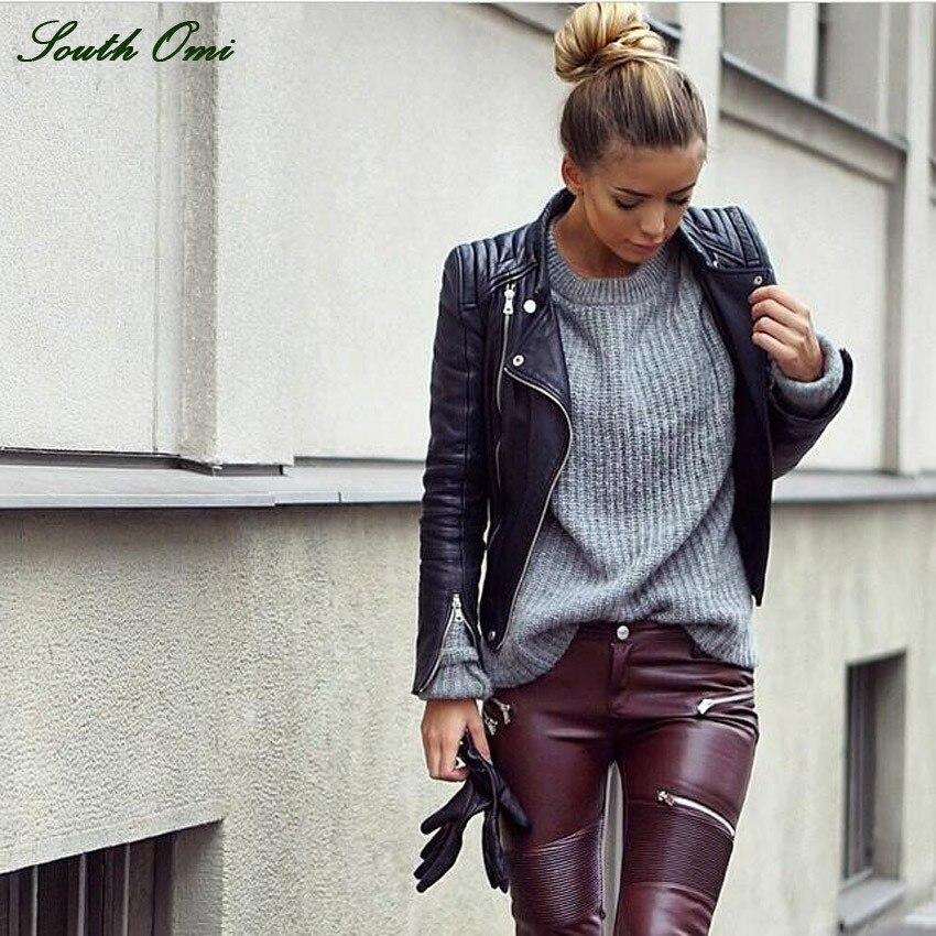 South Omi Motorcycle Black Leather Jackets Women Brand Fashion Pu