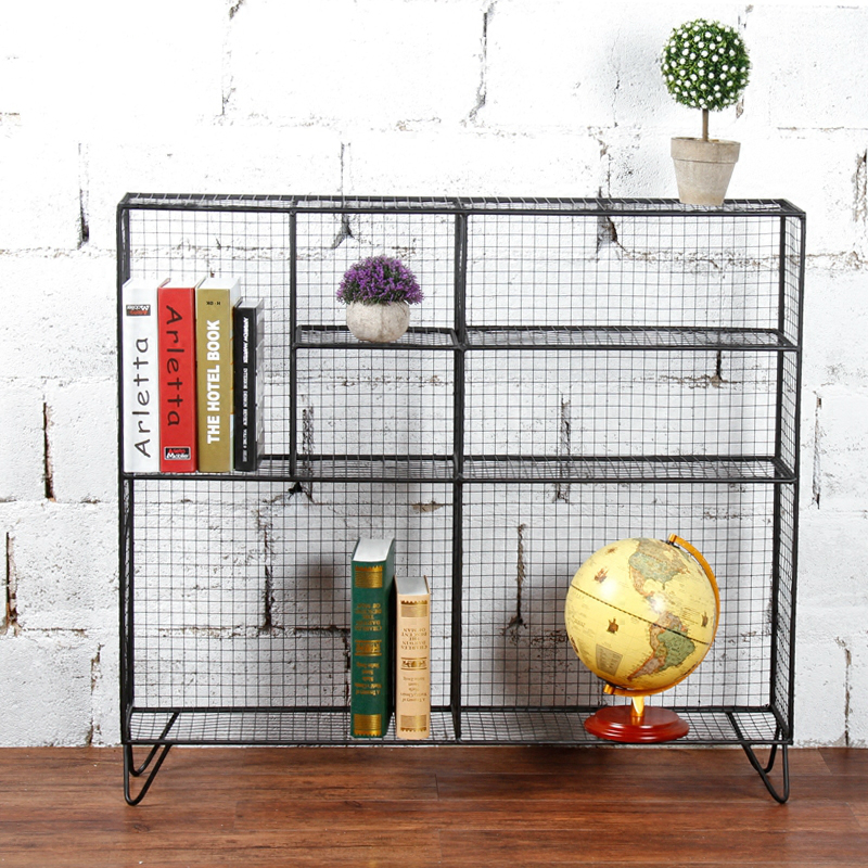 Metal net style storage cage shelf climbing flower sideboard locker cabinet lattice grid cabinet