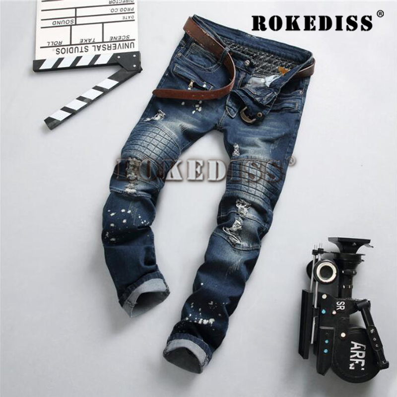Fashion Design Hole Jeans male Men famous Ripped Biker Skinny homme Denim Brand Hip Streetwear Pencil Pant trousers casual B106 2017 fashion patch jeans men slim straight denim jeans ripped trousers new famous brand biker jeans logo mens zipper jeans 604