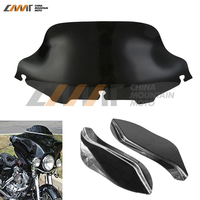 Black 6 Windshield Wind Deflector Fairing Air Wing Case For Harley Touring 1996 2013