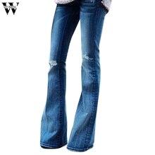 80cb829ee2 Womail vaqueros mujer pantalones vaqueros casual de mujeres miod cintura  lápiz pantalones de mezclilla agujero rasgado